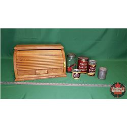 Collector Combo: Wooden Roll Top Bread Box with 3 Magic Powder Tins & Nabob Jar, Nabob Brass Scoop,