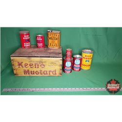 Collector Combo: Keen's Mustard Wood Crate & 6 Blue Ribbon Baking Powder Tins (Variety Sizes/Styles)