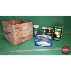 Bootlegger Wooden Crate with a Variety of 2 Jars & 3 Tins