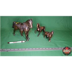 "3 Bronze Horse Ornaments (8""H & 6""H & 4""H) (Note: some damage to 8"" Horse rear)"