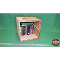 Bootlegger Wooden Crate with a Variety of Hardcover Books