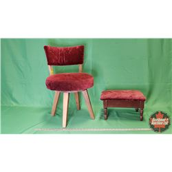 "Boudoir Chair (Swivel) (27""H) & Foot Rest (9""H)"