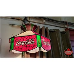 "Coca-Cola Slag Glass Hanging Lamp (17""Dia)"