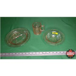 Pink Depression Glass Nursery Rhyme Trio: Cup, Bowl & Portion Plate