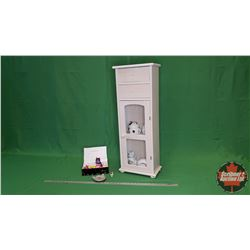 "Cat Collector Combo (String Holder/Dispenser, Ornaments, etc) & Curio Cabinet (33""H x 12""W x 7""D) (m"