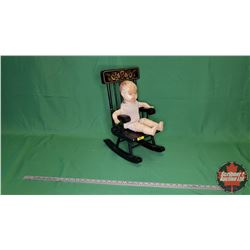 "Antique Doll & Rocking Chair (19""H x 10""W x 13""D)"