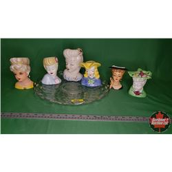 Ladies Head Vase Collection (6) on Clear Glass Tray