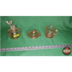 Pink Depression Glass Trio : Kellogg's Measuring Cup (Cracked), Juicer, Glass Trinket Box (Deer Top)