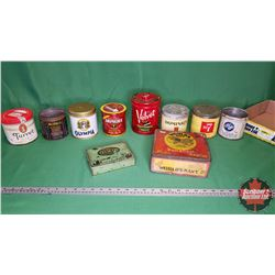 Tray Lot: Variety Tobacco & Cigarette Tins (10)