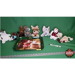 Coca-Cola - Variety Beanie Baby Collection (8) with Reproduction Coca-Cola Tray