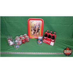 Coca-Cola Collector Combo 6 Pack Full Bottles; 6 Pack Half Cans Full; 3 Tumblers & Tray