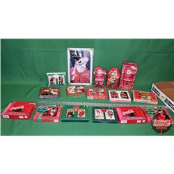 Coca-Cola Collector Combo - Tray Lot: Variety of Playing Card Sets (13) & Small Tin Sign