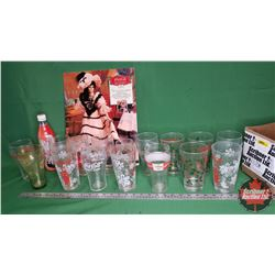 Coca-Cola Collector Combo - Box Lot: 16 Tumblers & Porcelain Doll Plaquard Sign & 1 Christmas Bottle