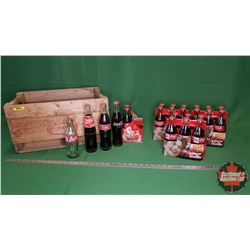Canada Dry Wooden Crate Lot with Four 6 Packs of Coca-Cola Bottles (Full) (Variety)