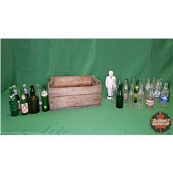 Canada Dry Wooden Crate Lot with Variety Bottles(25) & Col. Harland Sanders Piggy Bank