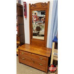 """Antique Dresser - Lowboy 2 Drawer with Tall Tilt Mirror (76""""H x 42""""W x 20""""D)"""