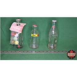Coca-Cola Bottles - 3 Varieties (one with unopened Marbles package)
