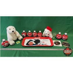 Coca-Cola Collector Combo : Tray, 2 Plush Polar Bears, Glass, 7 Bulb Full Bottles & Ornaments