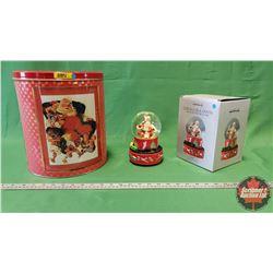 Coca-Cola Santa Musical Snow Globe in Box & Large Santa Gift Tin