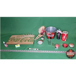 Coca-Cola Collector Combo: Barbie, Small Bucket, Wood Crate Slab, Radio Can, Watch, Ornaments, Mini