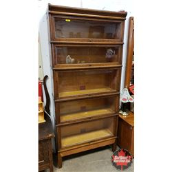 """Globe & Wernicke Barrister Bookcase (5 Section) (Footed) (75""""H x 34""""W x 11""""D)"""