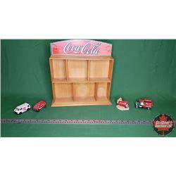 "Coca-Cola Curio Shelf (13""H x 12""W x 2""D) and 2 Toy Vans, 1 Xmas Ornament & Country Canvas Ornament"