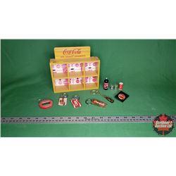 "Coca-Cola Curio Shelf (7""H x 7.5""W x 2""D) with Variety of Key Chains & Mini Bottle Pen Topper & Mini"