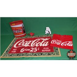 """Coca-Cola Collector Combo: Trash Can (13""""H), Mat (36"""" x 22"""") & Night Light (Not working) & Plush Pol"""