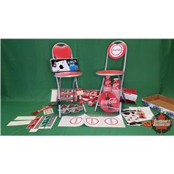 Coca-Cola Collector - Tray Lot: Lic Plate, Cups, Plates, Bulb Bottle, Decals, Banner, Tissue Paper,