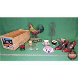 Wood Box Lot: Cast Iron Rooster Door Stop, Ladies Shoes (Italy), Jewellery Holder Dress Form, China,