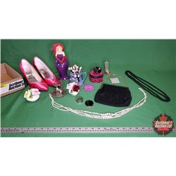 Tray Lot - Ladies Group: Red Hat Lady Ornament, Pink Pumps, Jewellery, Crown Royal Bone China Englan
