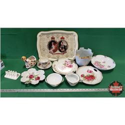 Tray Lot: QEII Silver Jubilee Tray, Noritake C&S, China Cup & Saucer, Bowls, Plates, Vase, Ornament,
