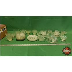 Box Lot: Variety Clear Depression Glass (Incl. Homespun Pattern)