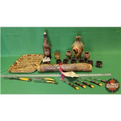Tray Lot - Wood Theme: Rain Stick, Walnut Image Tray, Carving Fork, Vases, Tins, Cutlery, Wall Décor