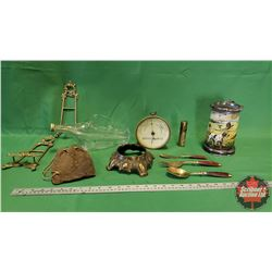 "Tray Lot: Brass Barometer, Hound & Pheasant Schedel Bavaria Puzzle Old Tavern Trick Drinking Mug, ""L"
