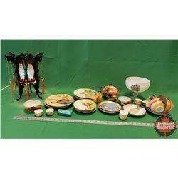 Tray Lot ~ Oriental Theme : Motion Lamp, Dishes, Lipstick Case, Saki Service