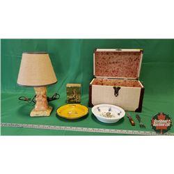Mini Trunk Lot - Kids Theme : Chalkware Electric Lamp, Vintage Donald Duck Fork, Enamel Child Plate,