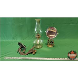 Tray Lot: Coal Oil Lamp, Wall Bracket & Dresser Mirror