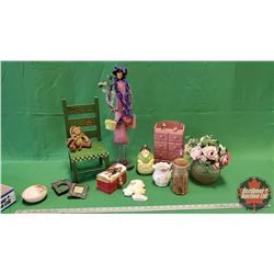 Tray Lot: Green Doll Chair, Apron Lady String Dispenser, Mini Cabinet with Drawers, Floral Arrangeme