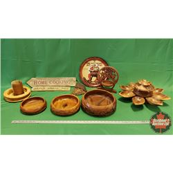 Box Lot - Wooden Kitchen Theme: Home Cooking Sign, Wooden Salad Serving Set, Wood Stein, Tin Tray, e