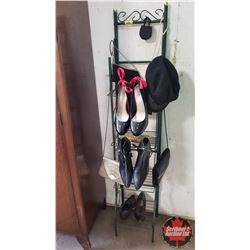 "Dealer/Collector Delight Combo: Variety of Ladies Shoes, Purses & Hat on Wire Rack (58""H x 12""W x 11"