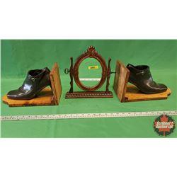 "Tilting Dresser Mirror - Resin Frame (10""H) & Lady Boot Book Ends"