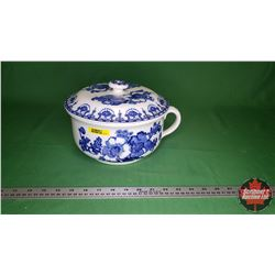 Chamber Pot with Lid (Blue/White) Whieldon Ware F. Winkle & Co. Ltd - Made in England