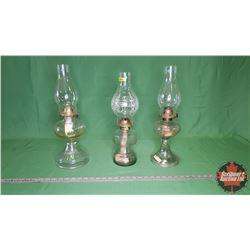 Coal Oil Lamp Trio - Clear