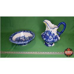 Pitcher & Basin (Blue/White) Victoria Ware - Ironstone