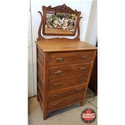 """High Boy Dresser - 5 Drawer - Tilt Mirror (65""""H x 32""""W x 19""""D)"""