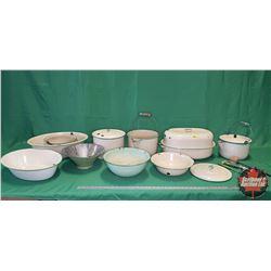 Green/Cream Enamelware (9 pcs) (Roaster, Bowls, Basins, Pots, Kettle Pot, etc) + Wood Handle Kitchen