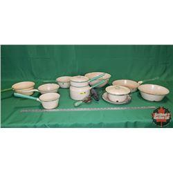 Green/Cream Enamelware (10 pcs) (Fry/Sauce Pans, Pots, 2 Lids, Wood Handle Beater)