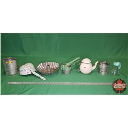 Green/Cream Enamelware (7 pcs) Sifters, Syrup Dispenser, Juice Press, Coffee Pot, Strainer, etc