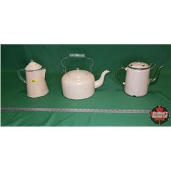 Green/Cream Enamelware Trio : Kettle, Coffee Pot, Tea Pot